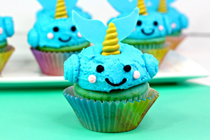 Cute and easy narwhal cupcakes