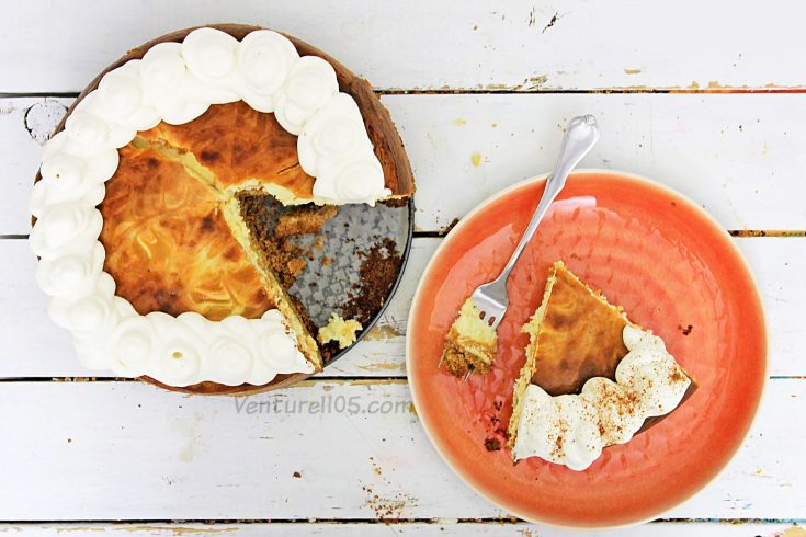 Pumpkin cheesecake with a slice cut out