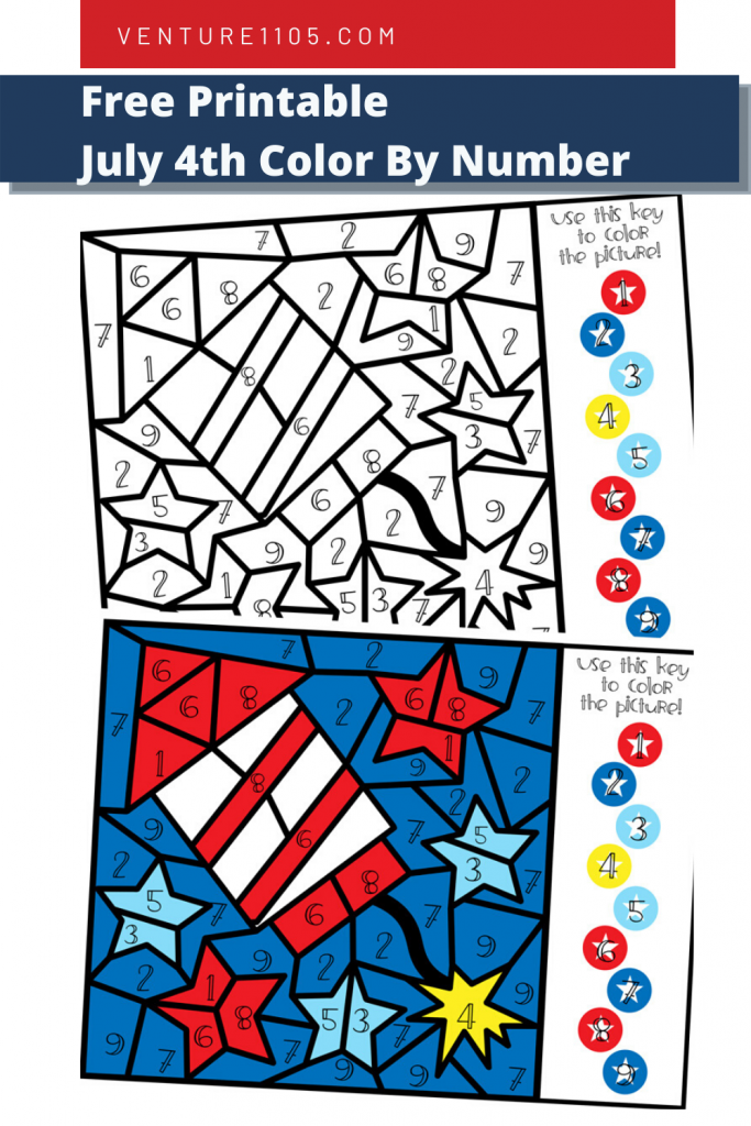 Free Printable July 4th Color By Number coloring page