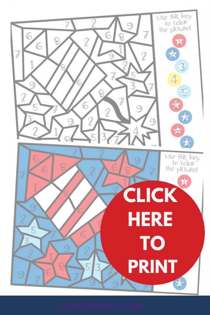 Click this image to download a free July 4th Color By Number coloring page