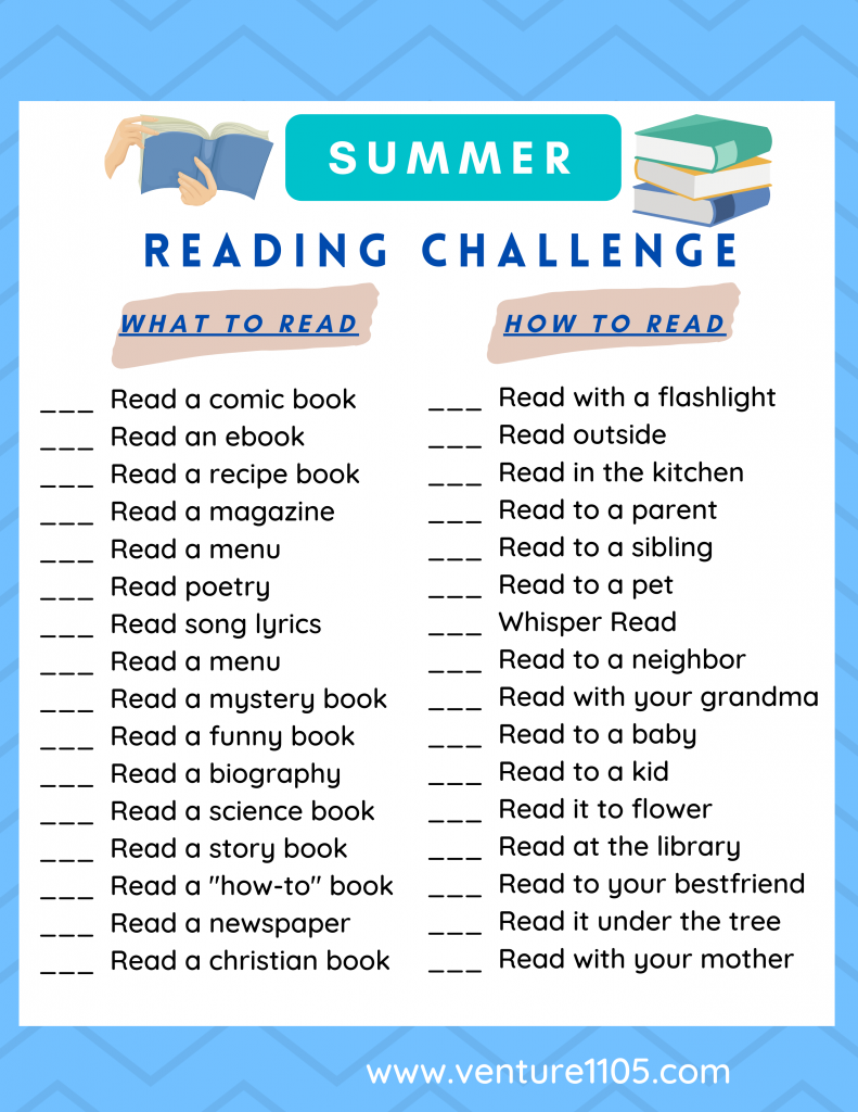 Printable Summer Reading Challenge - Click to download and print