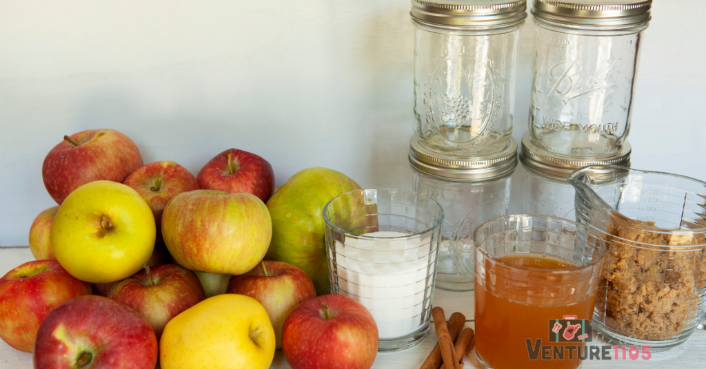 tools and ingredients for homemade applesauce