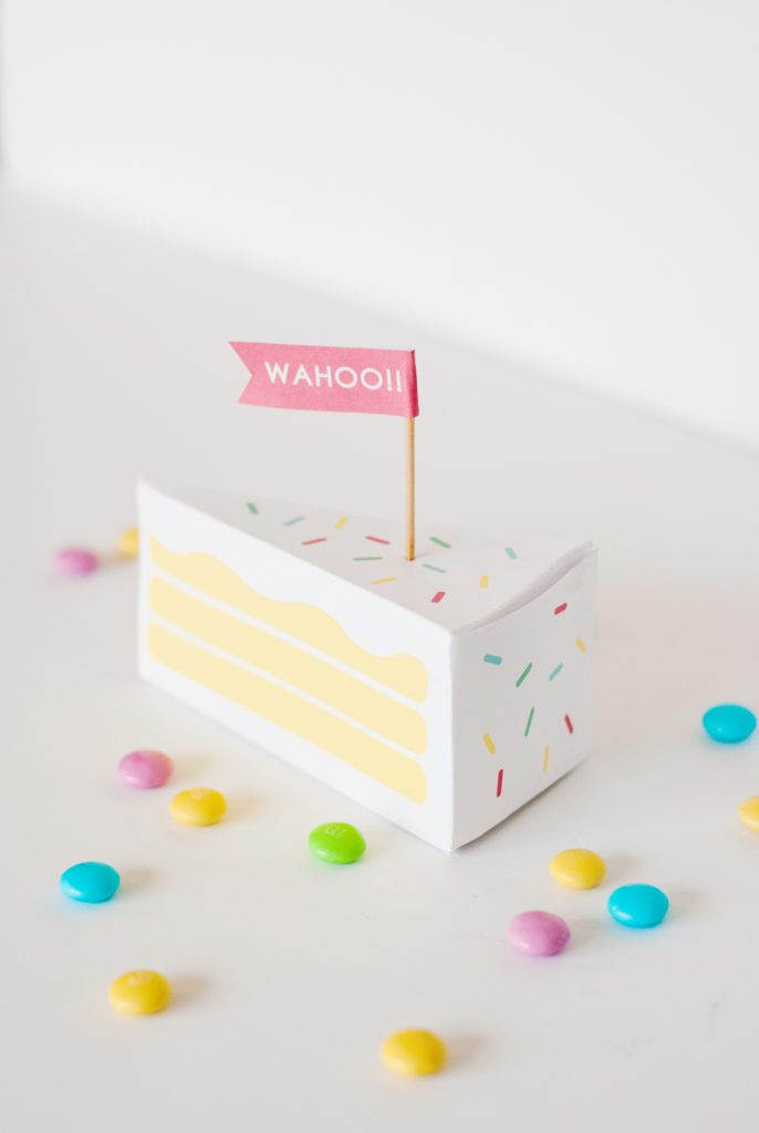 A gift box shaped like a slice of cake